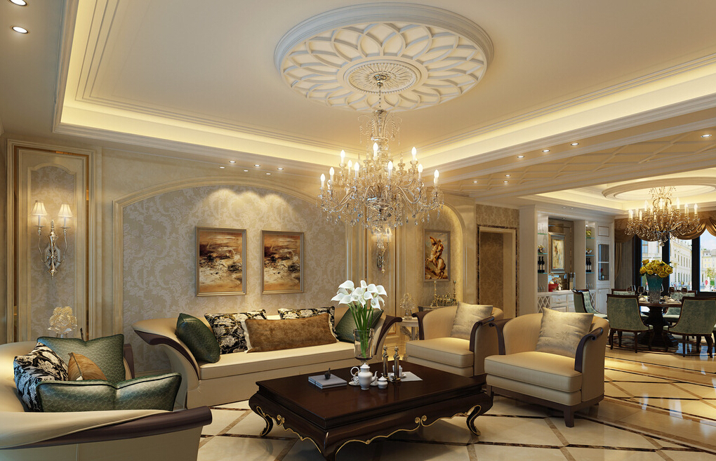 Ceiling-living-room-simple-European-style