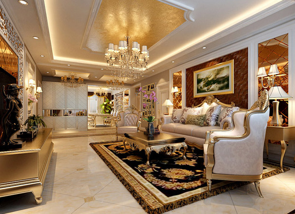 European-style-living-room-sofa-Photo-Wall
