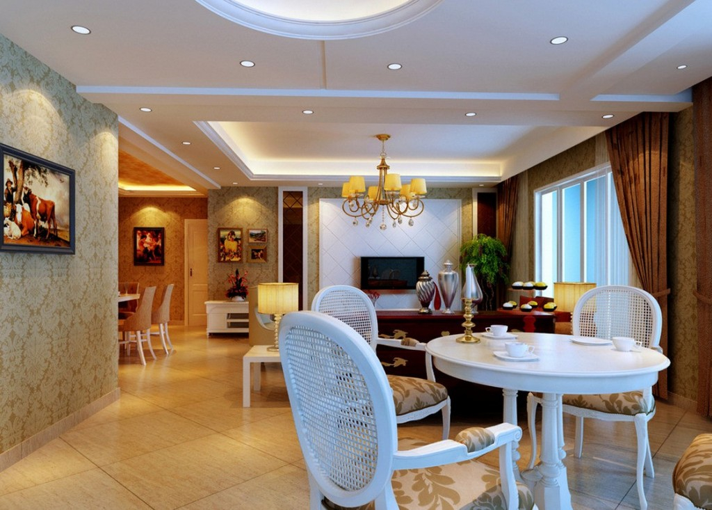 White-plaster-ceiling-for-living-room