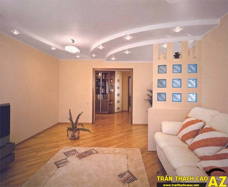 Trần thạch cao phòng khách hiện đại - 02