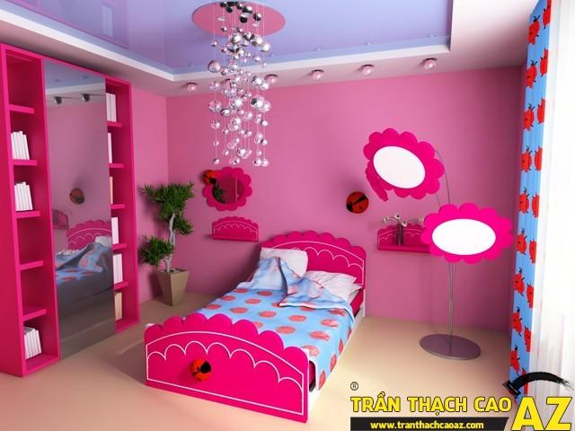 Mẫu trần thạch cao phòng ngủ công chúa cho bé 04