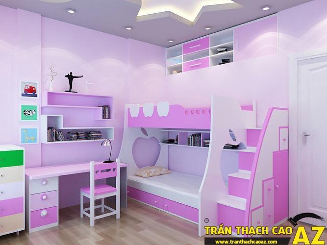 Mẫu trần thạch cao phòng ngủ công chúa cho bé 05