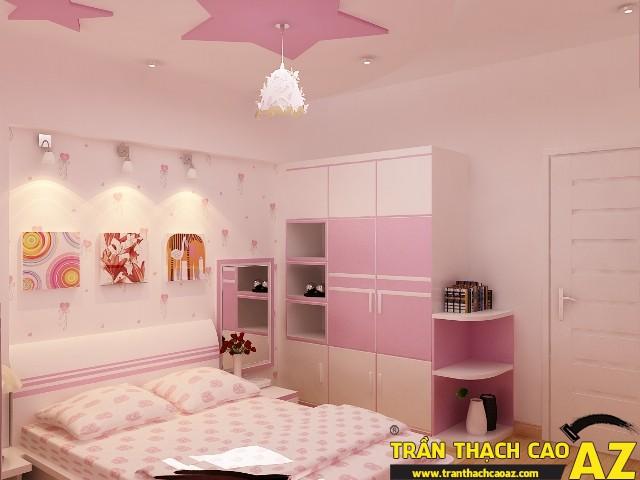 Mẫu trần thạch cao phòng ngủ công chúa cho bé 07