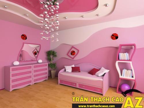 Mẫu trần thạch cao phòng ngủ công chúa cho bé 01