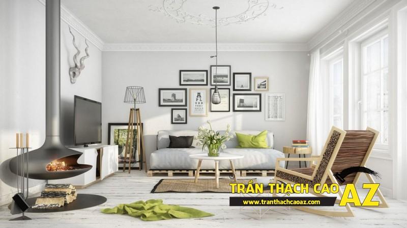Không gian sống đẹp mê ly với thiết kế trần thạch cao 01