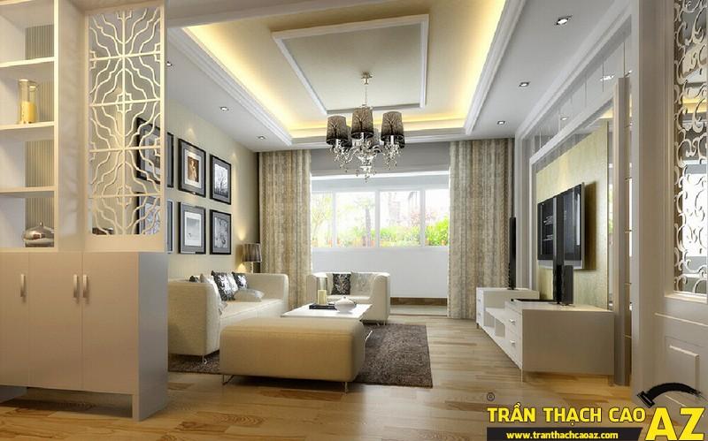 Mẫu trần thạch cao giật cấp phòng khách 07