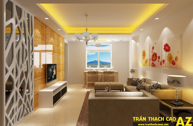 Trần thạch cao đơn giản với nội thất trang nhã cho không gian rộng mở