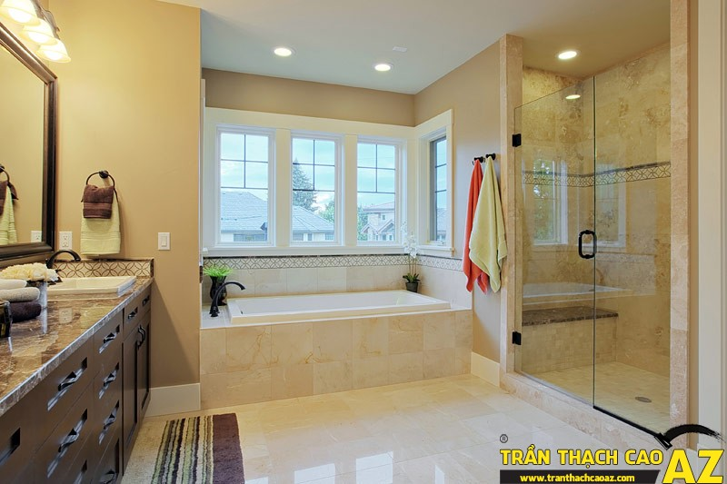 Trần thạch cao chịu nước thường được ứng dụng làm cho nhà tắm, nhà bếp, nhà vệ sinh...