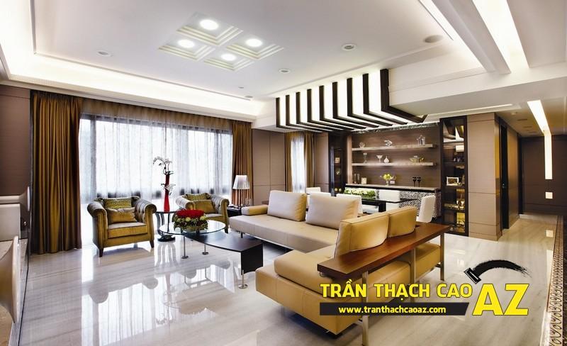 Trần thạch cao giật cấp - lựa chọn tối ưu trong thiết kế phòng khách 01