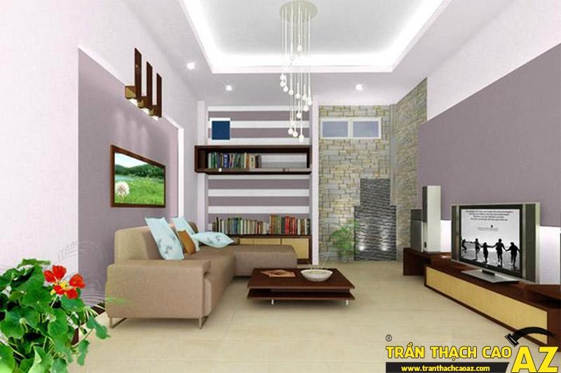 Trần thạch cao phòng khách chống nóng hiệu quả