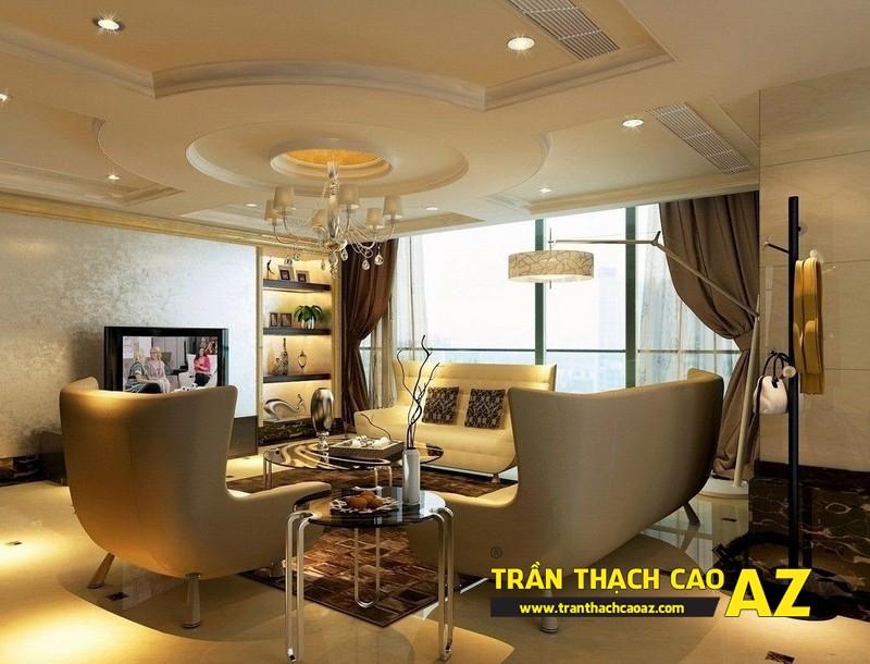 Thiết kế trần thạch cao phòng khách theo phong cách cổ điển, tân cổ điển 02