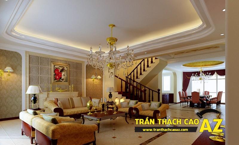 Thiết kế trần thạch cao phòng khách theo phong cách cổ điển, tân cổ điển 01