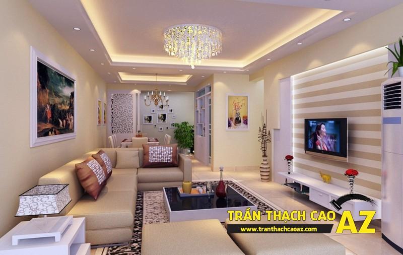 Thiết kế trần thạch cao phòng khách theo phong cách hiện đại 01