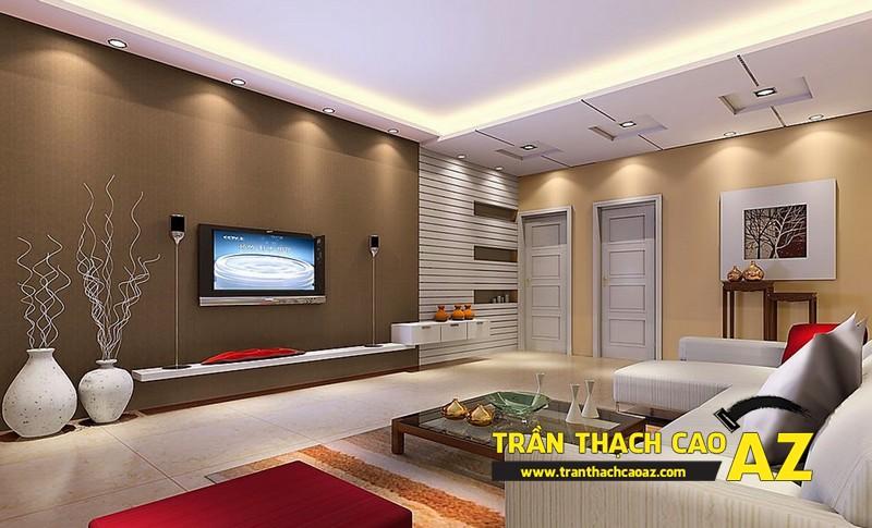 Thiết kế trần thạch cao phòng khách theo phong cách hiện đại 02