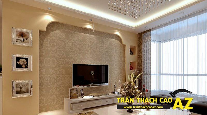 Không gian phòng khách đẹp với thiết kế trần thạch cao