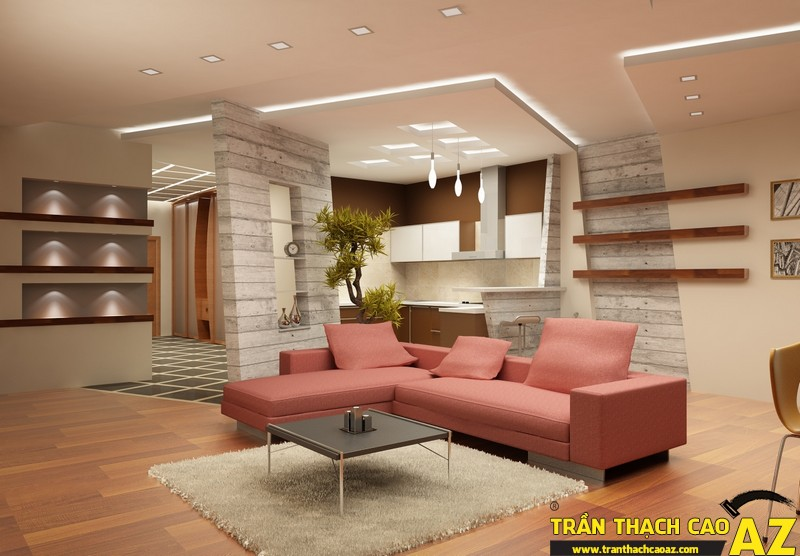 Những mẫu trần thạch cao phòng khách đẹp nhất hiện nay 06