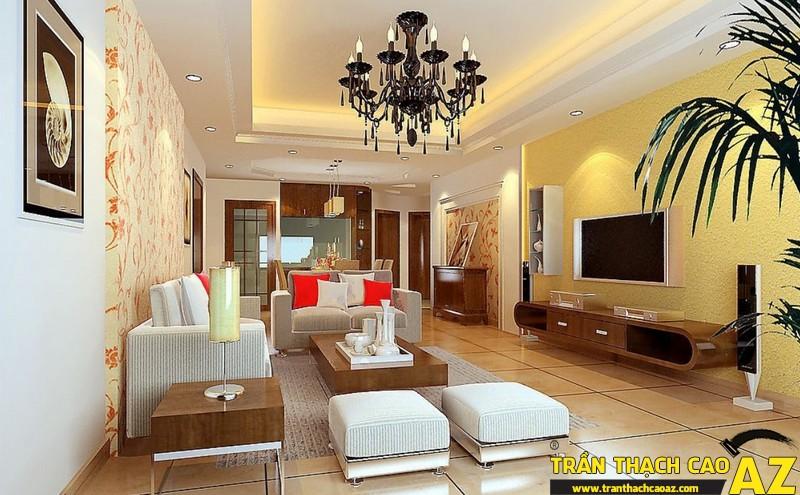 Những mẫu trần thạch cao phòng khách đẹp nhất hiện nay11