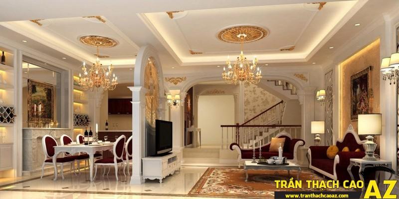 Những mẫu trần thạch cao phòng khách đẹp nhất hiện nay13
