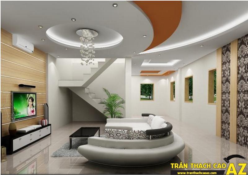 Kết hợp hài hòa trần thạch cao phòng khách và nội thất tạo điểm nhấn ấn tượng