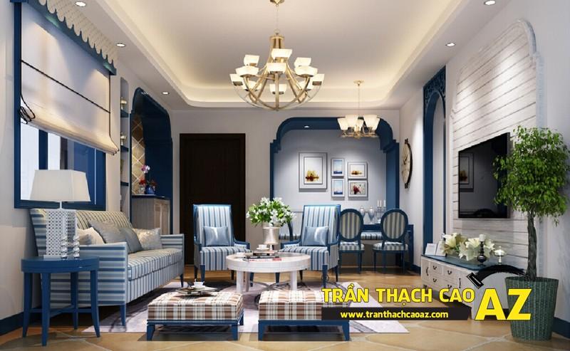 Không gian phòng khách siêu đẹp nhờ sử dụng trần thạch cao giật cấp 02
