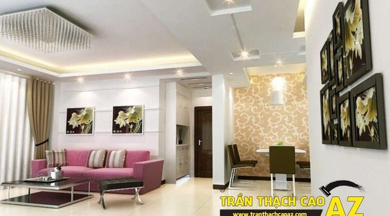 Không gian phòng khách siêu đẹp nhờ sử dụng trần thạch cao giật cấp