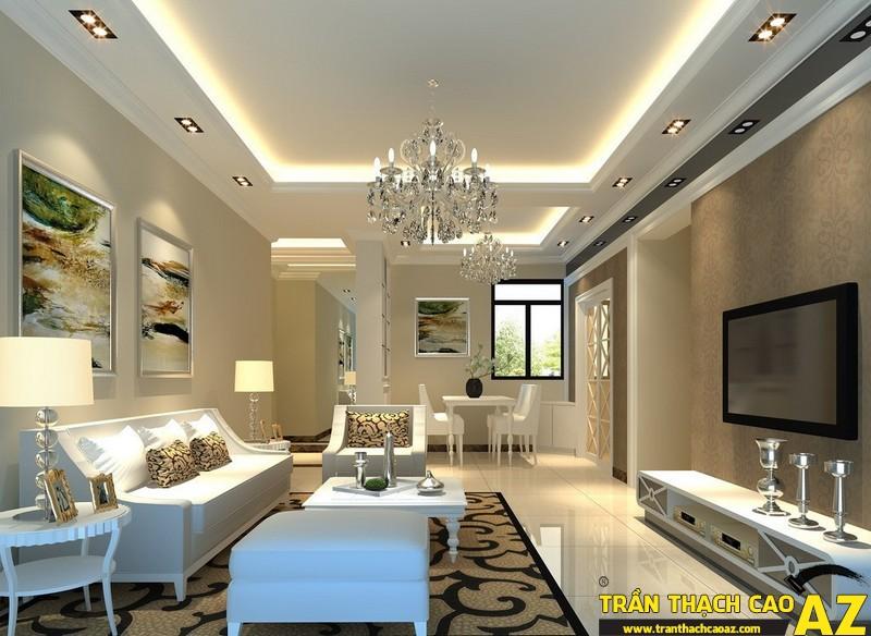 Mẫu trần thạch cao phòng khách nhà ống đẹp 11