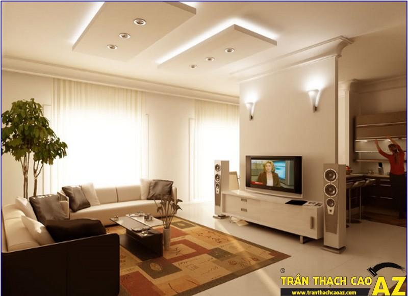 Trần thạch cao giật cấp đơn giản rất phù hợp với nhà chung cư