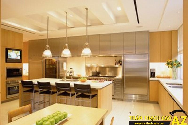Thiết kế trần thạch cao phòng bếp nhẹ nhàng, lãng mạn
