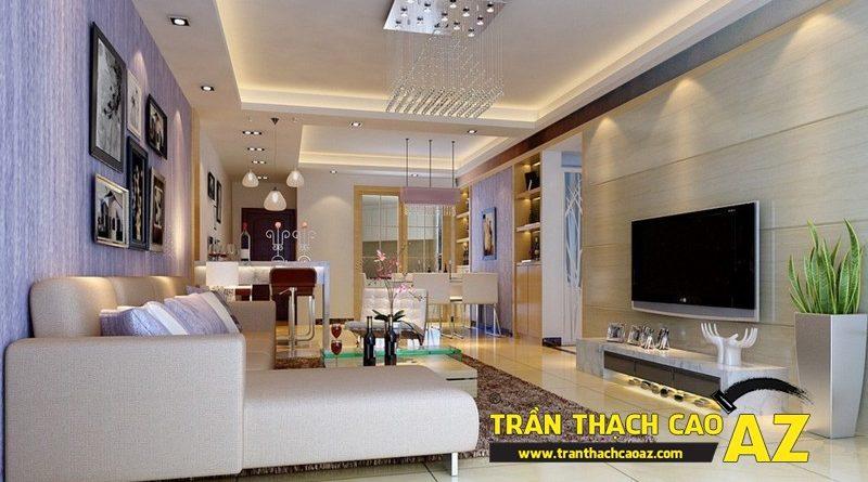 Trần thạch cao phòng khách kết hợp phòng ăn ấn tượng