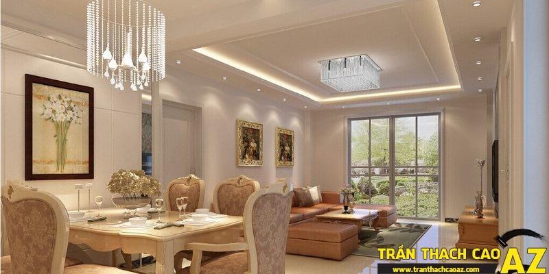 Trần thạch cao mang phong cách hiện đại kết hợp với nội thất cổ điển cũng là một cách thiết kế độc đáo
