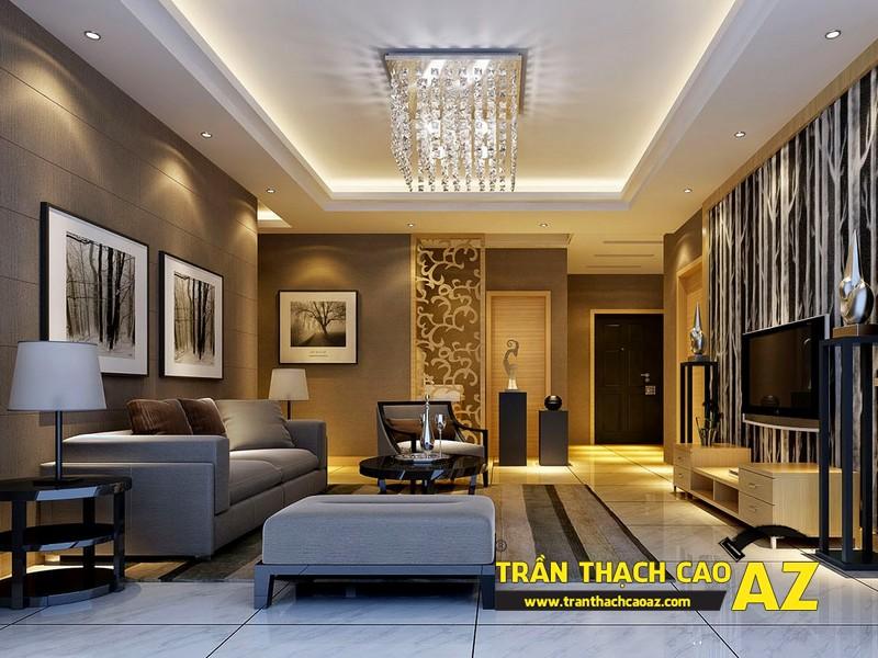 Cách bố trí đèn trần thạch cao phòng khách nhà ống ở trần giật cấp