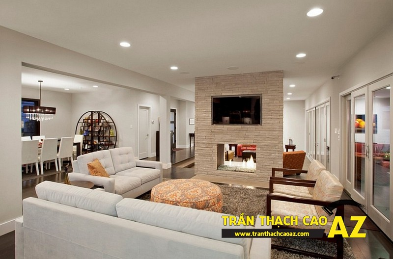 Cách bố trí đèn trần thạch cao phòng khách nhà ống ở trần phẳng