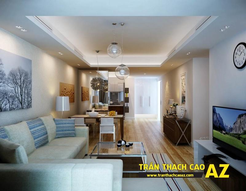 Mẫu trần thạch cao phòng khách nhà ống đẹp 01