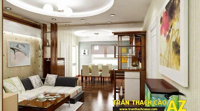 Trần thạch cao phòng khách cho nhà phố, nhà ống