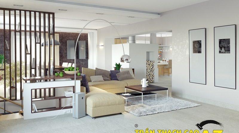 Không gian sống đẹp xuất sắc nhờ sử dụng trần thạch cao 01