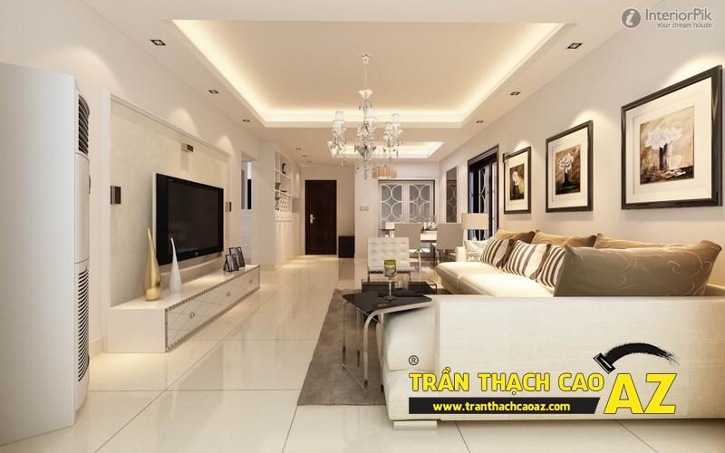 Mẫu trần thạch cao phòng khách nhà ống đẹp 07