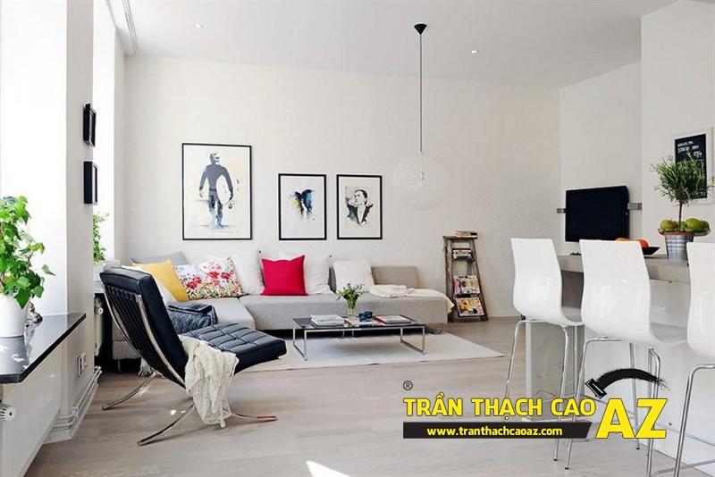 Mẫutrần thạch cao phòng khách phù hợp với không gian dưới 25m2 - 02