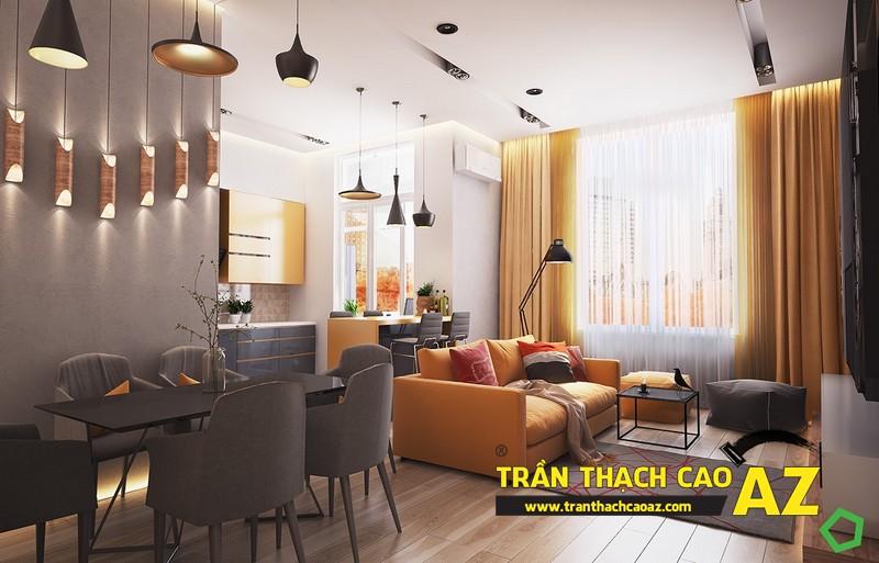 Mẫutrần thạch cao phòng khách phù hợp với không gian dưới 25m2 - 07