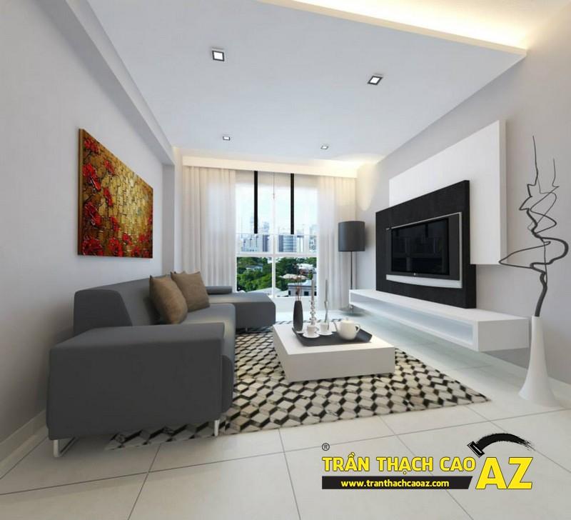 Mẫutrần thạch cao phòng khách phù hợp với không gian dưới 25m2 - 06