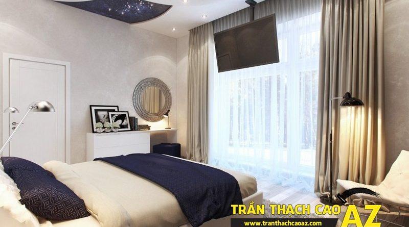 Biến hóa không gian phòng ngủ 15m2 đẹp lung linh nhờ tạo hình trần thạch cao