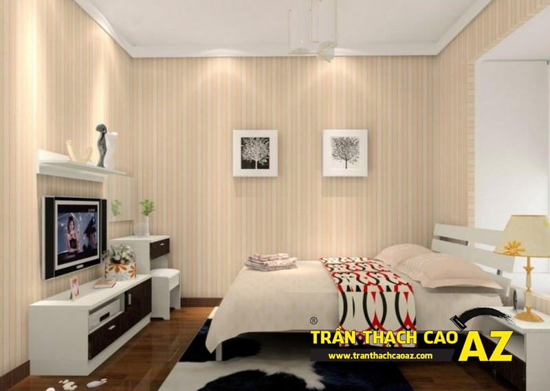 Biến hóa không gian phòng ngủ 15m2 đẹp lung linh nhờ tạo hình trần thạch cao 02