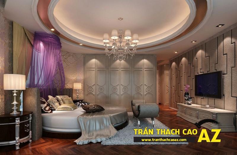 Biến hóa không gian phòng ngủ 15m2 đẹp lung linh nhờ tạo hình trần thạch cao 03