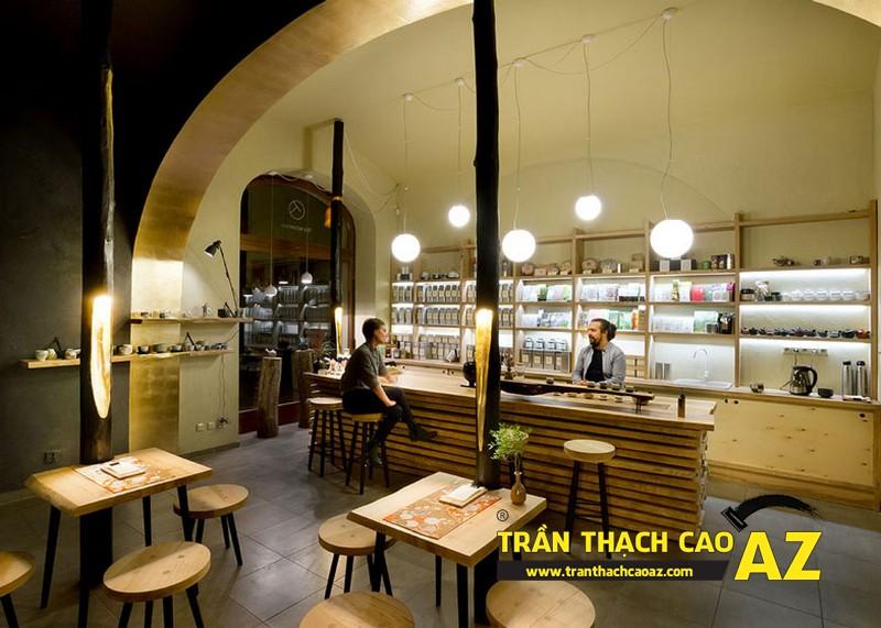 Mẫu thiết kế trần thạch cao quán cafe chất lạ, sang chảnh 10