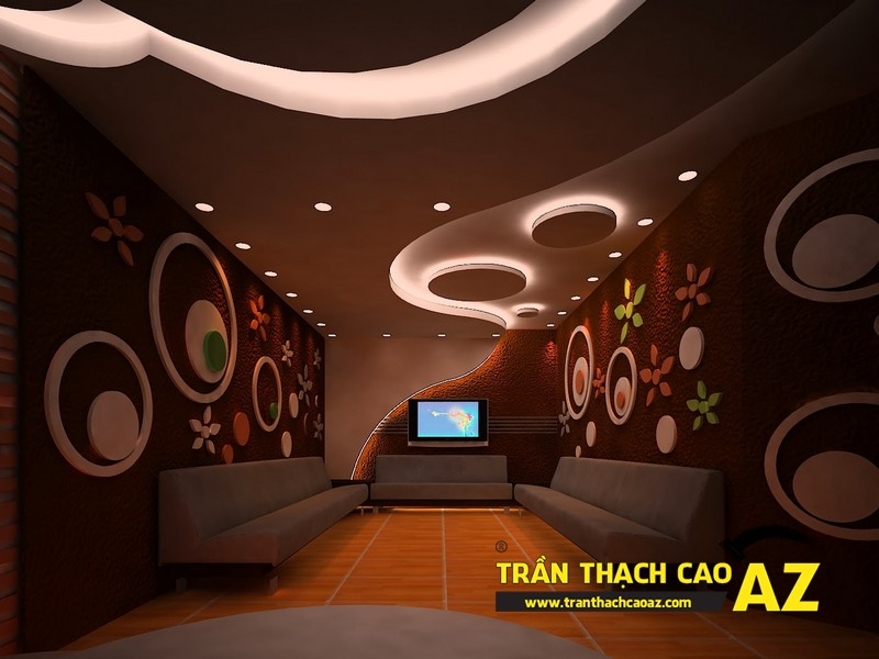 Mẫu thiết kế trần thạch cao phòng karaoke ấn tượng, cá tính - 03