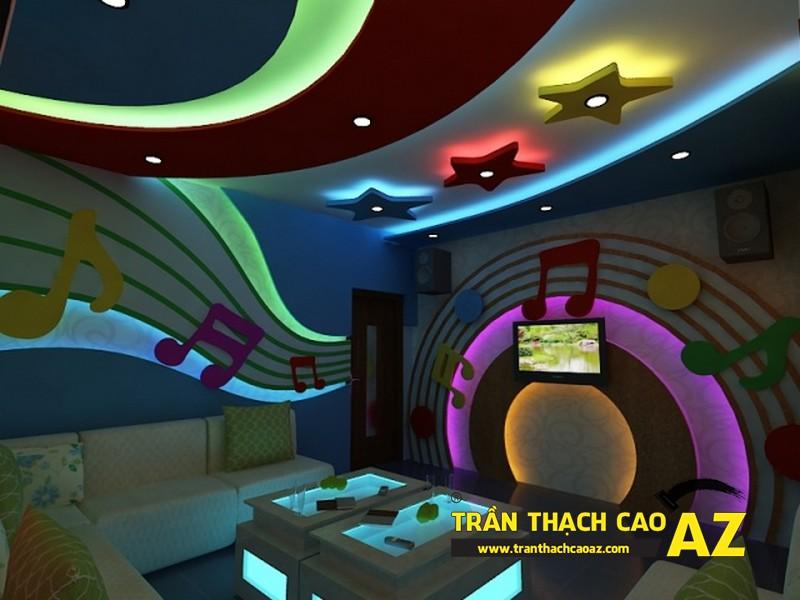 Mẫu thiết kế trần thạch cao phòng karaoke ấn tượng, cá tính - 05