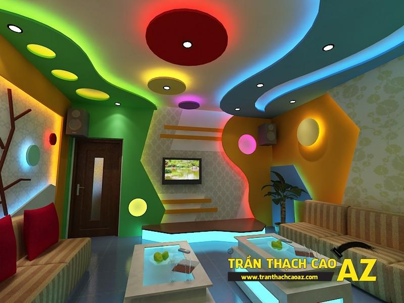 Mẫu thiết kế trần thạch cao phòng karaoke ấn tượng, cá tính - 06