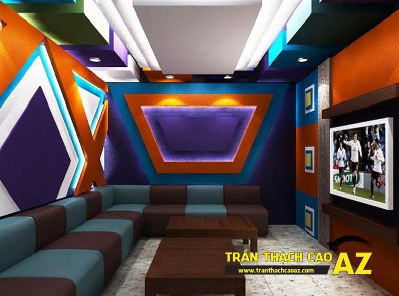 Mẫu thiết kế trần thạch cao phòng karaoke ấn tượng, cá tính - 01
