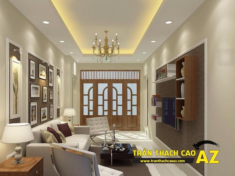Mẫu trần thạch cao phòng khách nhà ống đẹp 05