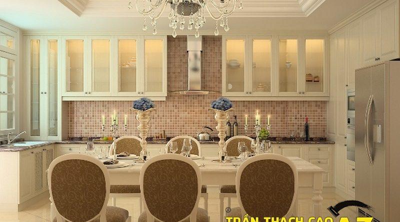 Trần thạch cao cổ điển cho căn bếp ấm cúng