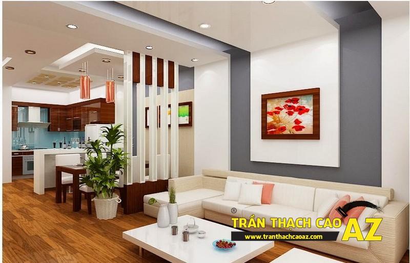 Tạo không gian mở với thiết kế trần thạch cao phòng bếp kết hợp phòng khách